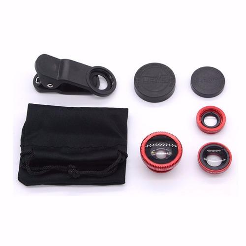 kit lentes 3 en 1 ojo de pez macro gran angular para celular