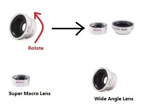 kit lentes macro, fish eye e wide para iphone, samsung, lg