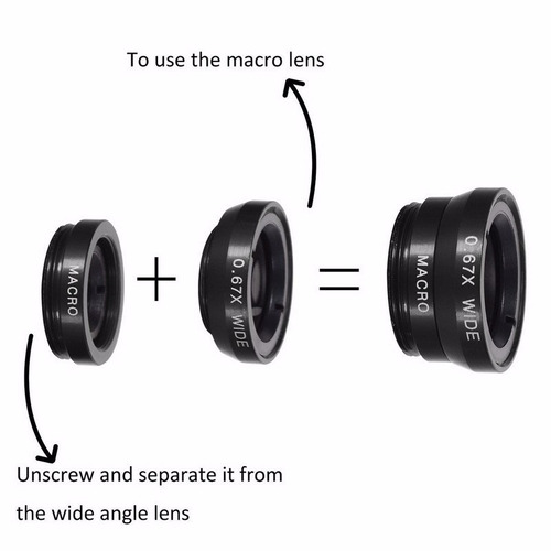 kit lentes: ojo de pez + gran angular + macro + envío gratis