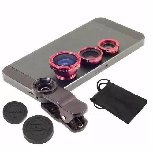 kit lentes para celular: ojo de pez + gran angular + macro