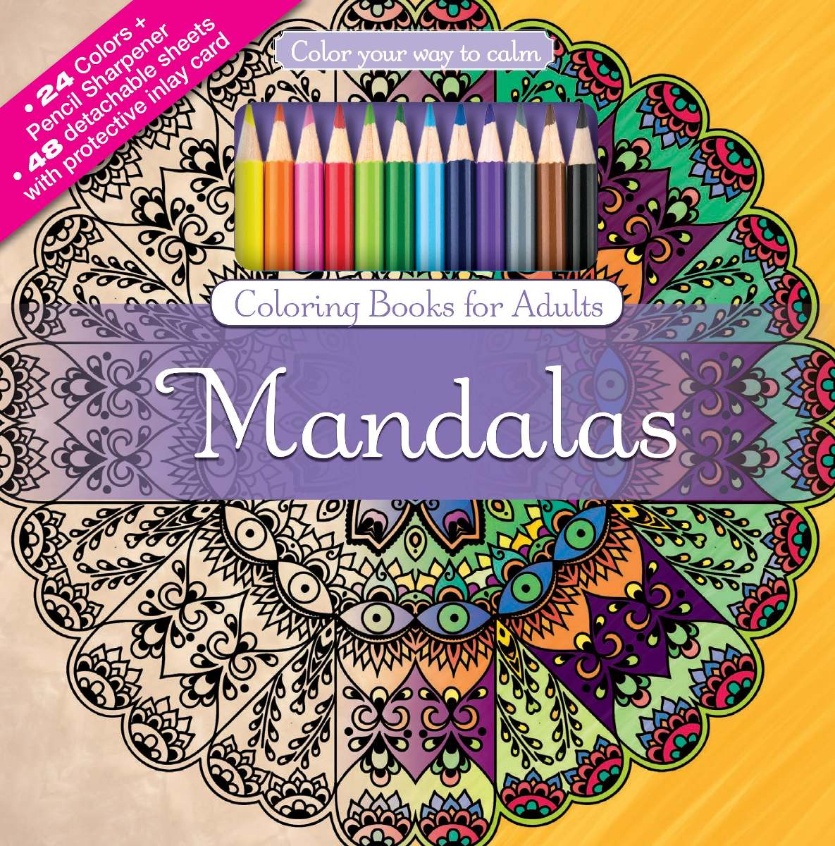 Kit Libro De 48 Mandalas Para Colorear 24 Lapices De Colores ...