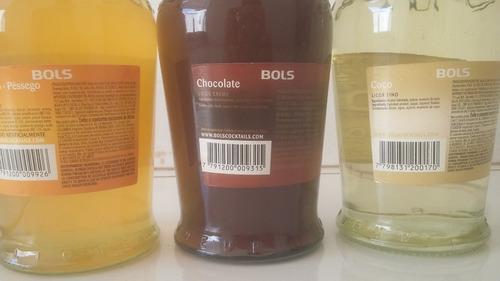 kit licor bols chocolate/coco/pessego 700ml (6 unidades)