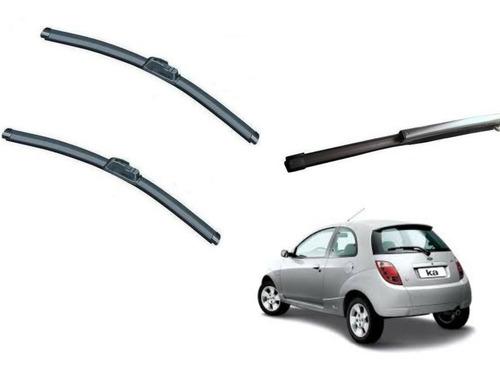 kit limpador parabrisa dianteiro+ traseiro ford ka 02/08