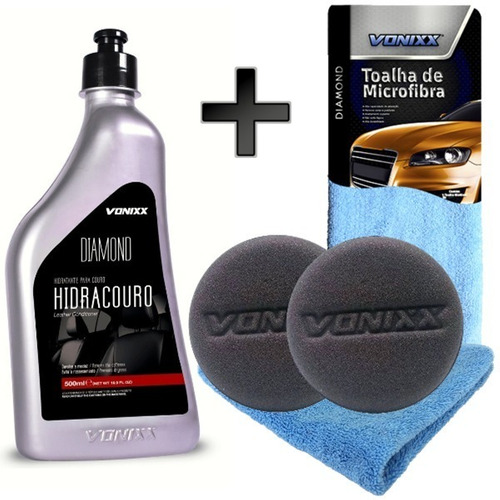 kit limpeza hidratação de couro + toalha + aplicador vonixx