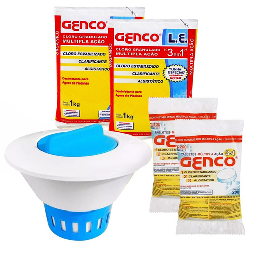 kit limpeza piscina clorador flutuador pastilha genco cloro