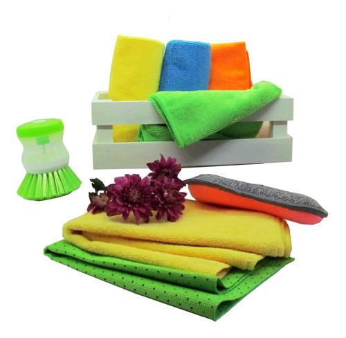 kit limpieza cocina microfibra y cepillo laffitte home 8 pzs