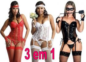 f3e94677a Kit Lingerie Espartilho Fantasia Erotica Kit 3 Em 1 Oferta
