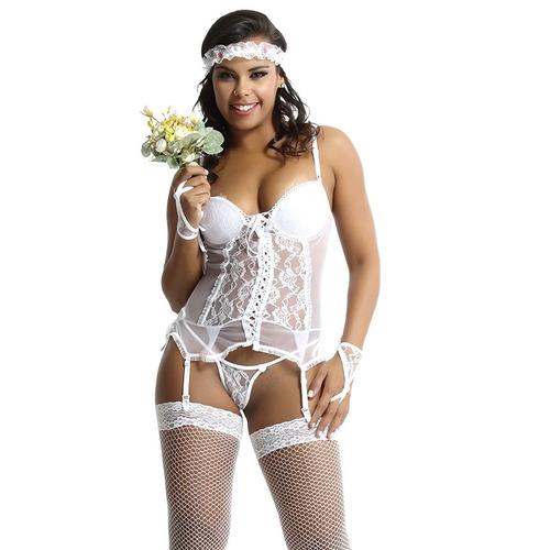 kit lingerie espartilho fantasia erotica kit 3 em 1 sexshop