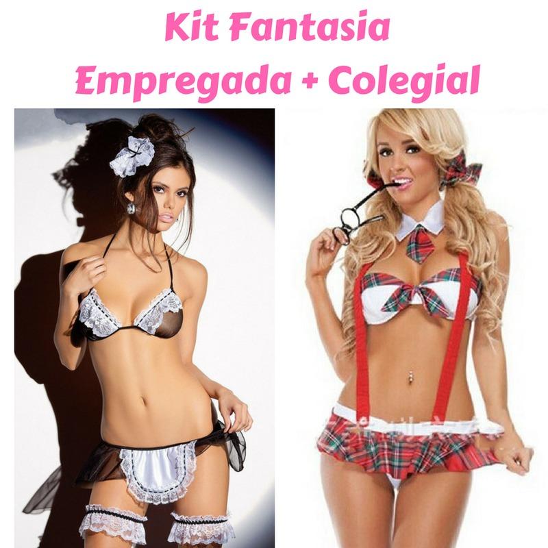 023b8a72f Kit Lingeries Sexy Erótica - Fantasia Colegial + Empregada - R  66 ...