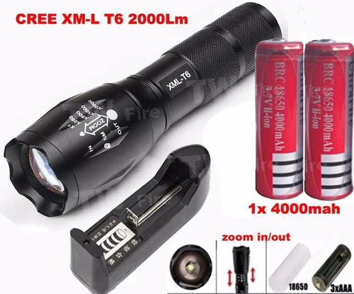 kit linterna led alta potencia 2000 lumen+2 pilas+cargador