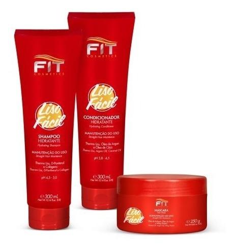 kit liso fácil shampoo condicionador e máscara