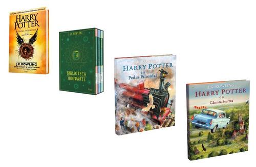 kit livros harry potter - criança + hogwarts + ilustrados #