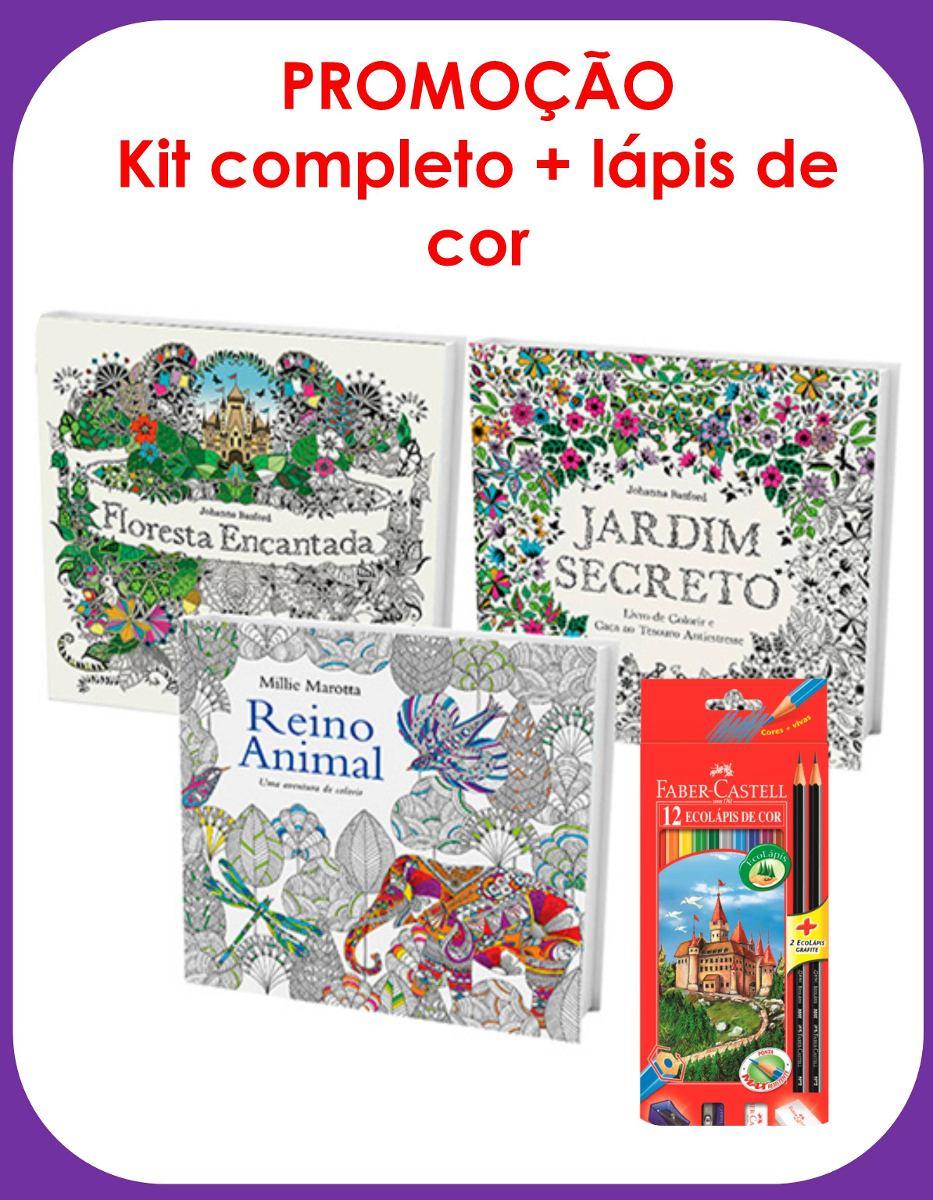 Kit Livros Jardim Secreto Floresta Encantada Reino Animal Carregando Zoom