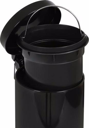 kit lixeira 3l c/ pedal+ escova p/ vaso sanitário preto mor