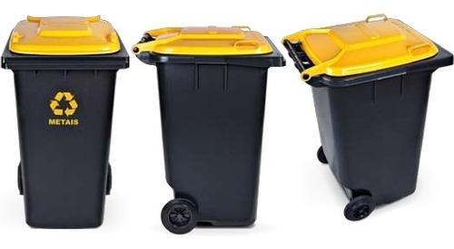 kit lixeira de coleta seletiva 120 litros com 4 cesto fechad