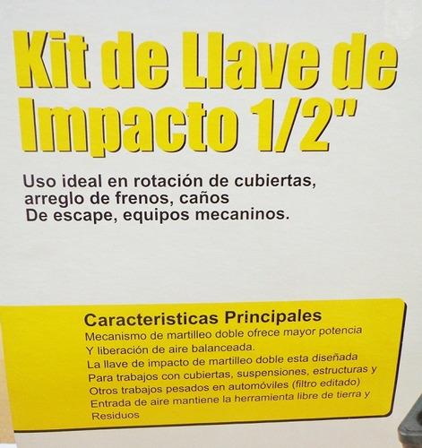 kit llave pistola impacto neumatica 1/2 doble martillo 610nm