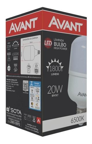 kit lâmpada led 20w 6500k alta potência bivolt avant 10 pç