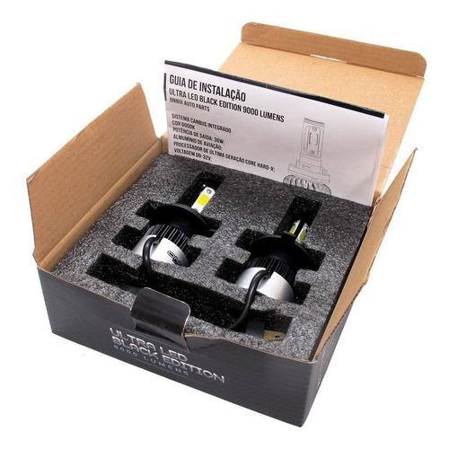 kit lâmpada onnix ultra led black 3d h4 6000k 9000 lumens