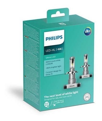 kit lâmpada philips h4 +160% ultinon led 6200k par promoção
