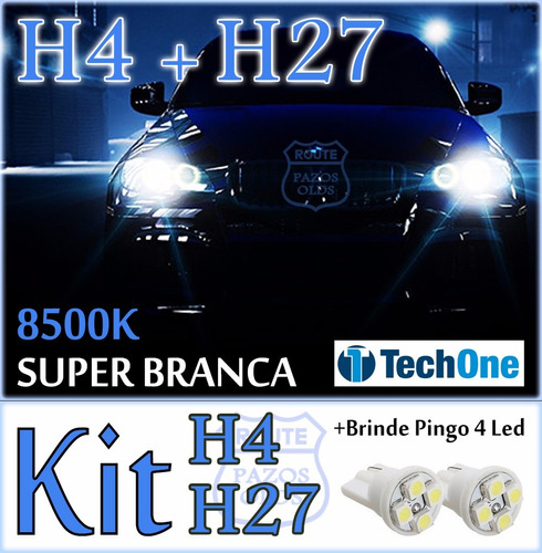 kit lâmpada super branca h4 + h27 + t10 led tucson 13 à 17