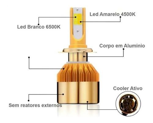 kit lâmpada super led dual color h4 super branca 8000 full