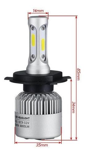 kit lâmpadas farol h4 super led cob 4000 lumens 6000k bridge