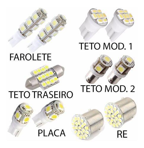 kit lâmpadas luz branca led hilux pingo teto placa ré xenon