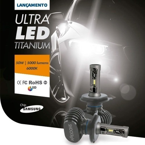 kit lâmpadas ultra led h27 titanium 6k shocklight 50w 10000l