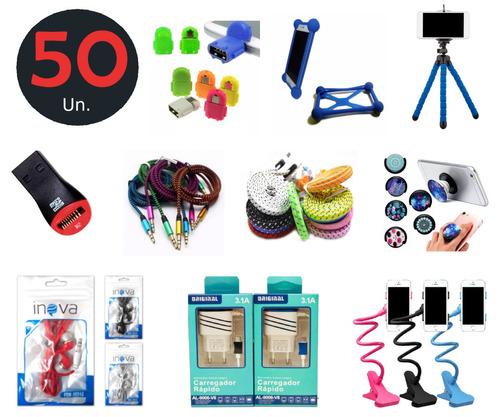 kit lojista - 50 acessorios para celular  revenda atacado