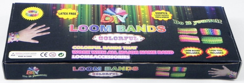 kit loom bands colorful ,telar gancho 600 ligas manual