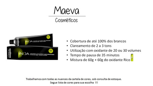 kit loreal 5 colorações inoa 60g + 1 sh. inoa post 1,5l