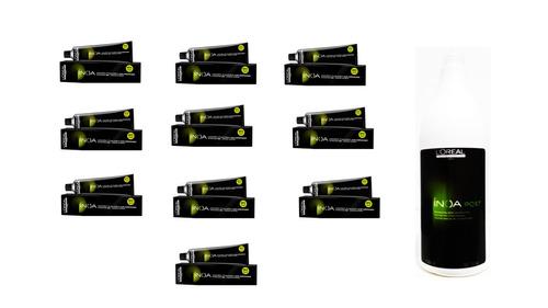 kit loreal com 10 colorações de inoa 60g + sh inoa post 1,5l