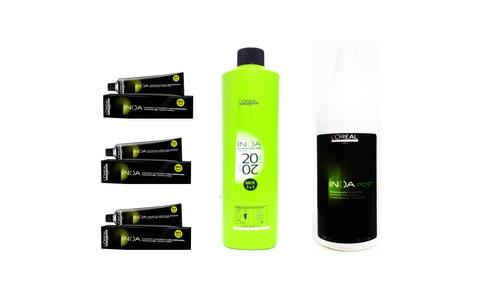 kit loreal inoa 3 colorações+ 1oxidante+ 1sh promoção