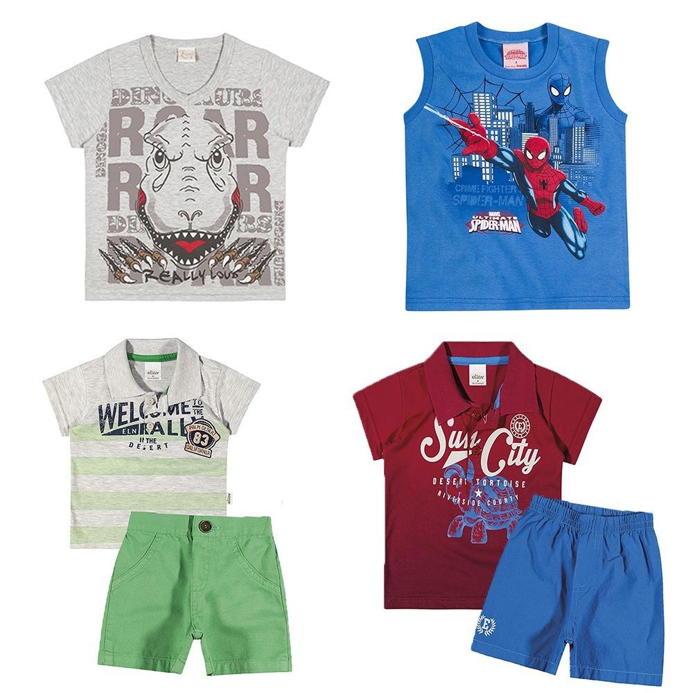 Kit Lote 02 Conjuntos Infantil E 02 Camisas Menino 3 Anos - R  159 ... 48f9f012cb374
