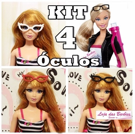 c9031ad04 Kit Lote 4 Óculos De Grau Para Boneca Barbie Susi Ken - R$ 29,00 em ...