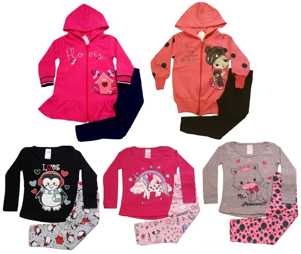 cc045939e63ed1 Kit Lote 5 Conjuntos Infantil Feminino Atacado Roupa Inverno