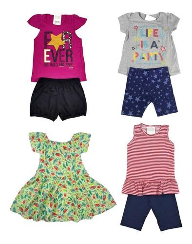 kit lote 5 conjuntos infantil feminino atacado roupa menina