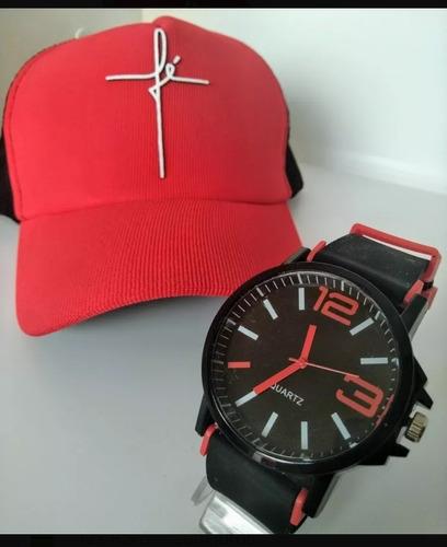 kit lote 5 relógios  + 5 bones atacado  revenda promoção