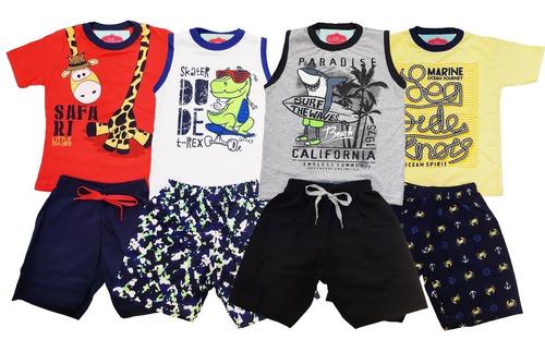 kit lote 7 conjuntos infantil masculino roupa menino atacado