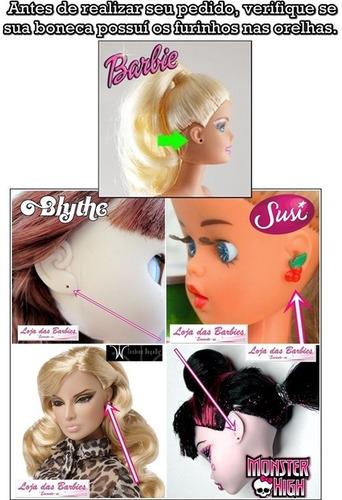 kit lote de joias p/ boneca barbie * brinco colar coroa 6pcs