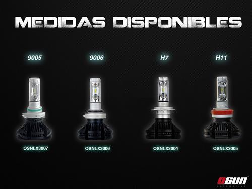 kit luces led osun x3 philips focos h11 9006 h7 9005 faros