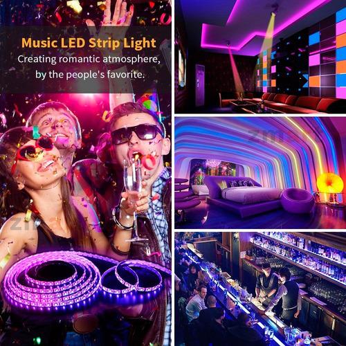 kit luces led tira 5mt decoración rgb luz + control + fuente