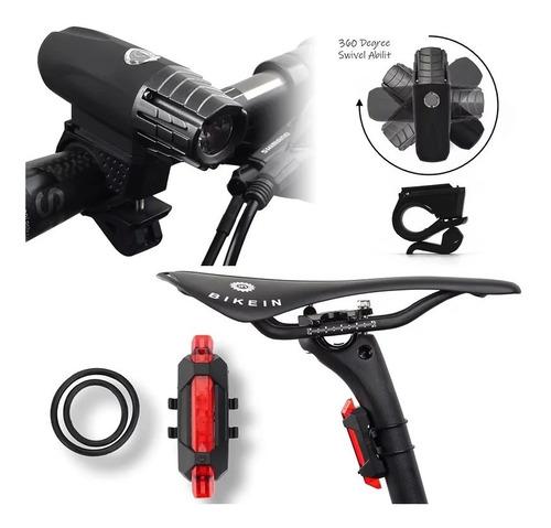 kit luces para bicicleta delantera y trasera rojo blanco