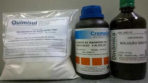 kit lugol 500ml+ cloreto magnesio 500+ bicarbonato sodio 1kg