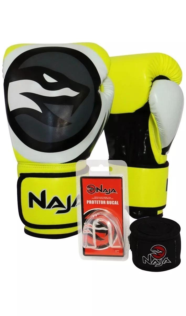 e3e3bf797 Kit Luva Boxe Muay T Thai Colors Amarelo Naja Bucal Bandagem - R ...