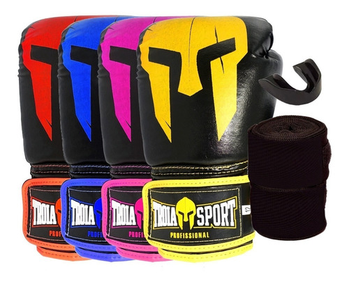 kit luva boxe/ muay thai +bandagem +p.bucal -10oz a 16oz