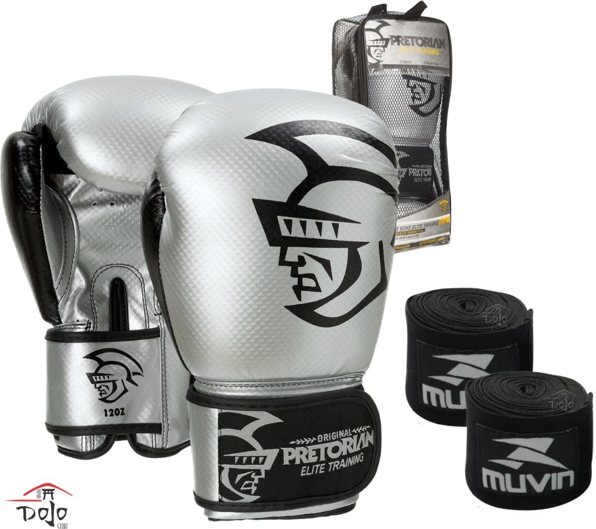 515ac72c8 kit luva boxe   muay thai pretorian elite prata + bandagem. Carregando zoom.