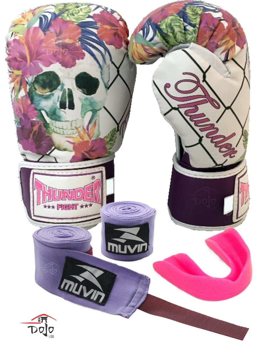 99f36308a kit luva boxe muay thai thunder 12oz feminina band bucal. Carregando zoom.