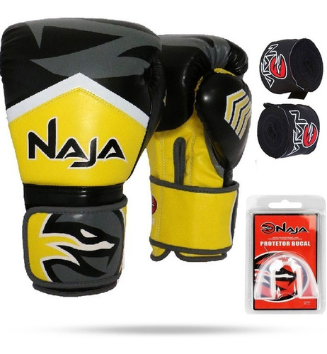 kit luva boxe thai naja new extreme todas cores