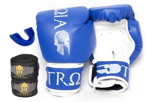 kit luva boxe/muay thai+bandagem+p.bucal- 10 a 16oz promoção